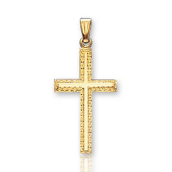 14k Y Gold Classic Elegant Ornate Small Cross Pendant