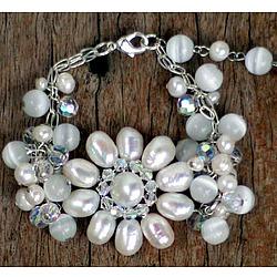 """Snow Blossom"" Pearl Floral Bracelet"