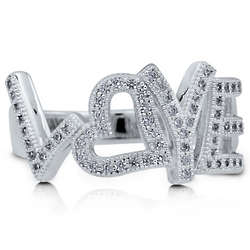Sterling Silver Love Script Cubic Zirconia Ring