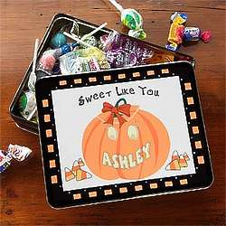 Personalized Pumpkin Halloween Candy Tin
