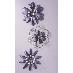 Purple Crystal Wall Flowers Set