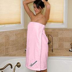 Women's Personalized Pink Bath Towel Wrap