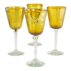 Amber Flowers Etched Wine Glasses Set