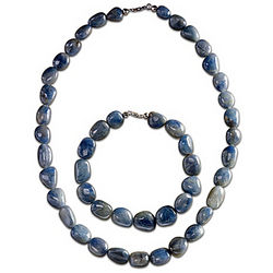 Natural Beauty Blue Sapphire Necklace and Bracelet