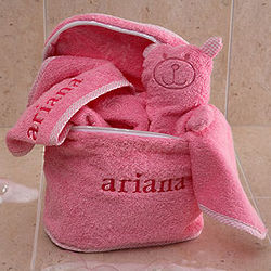 Pink Personalized Baby Terry Bath Set