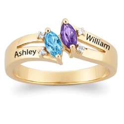 Gold Over Sterling Couple's Marquise Birthstone Diamond Ring