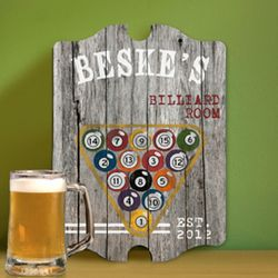 Billiards Vintage Personalized Man Cave Sign