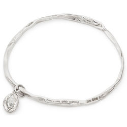 White Light Herkimer Stone Silver Bangle