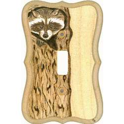 Raccoon in Tree Wooden Switchplate