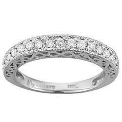 18K White Gold Fancy Wedding Band with VS Diamonds