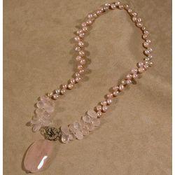Rose Quartz & Pearl Pendant Necklace
