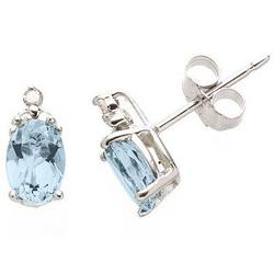 Sterling Silver Aquamarine Earrings with Diamond Accents