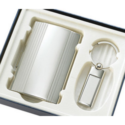Engeavable Silver Key Ring & Business Card Case Gift Set