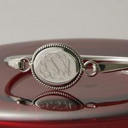 Monogrammed Sterling Silver Braided Oval Bangle Bracelet
