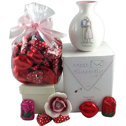 True Love Vase with Porcelain Rose and Chocolates