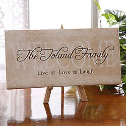 Live, Laugh, Love Personalized Canvas Art Welcome Sign