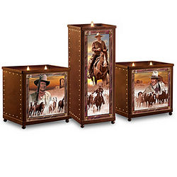 John Wayne Tribute Stained-Glass Candleholders