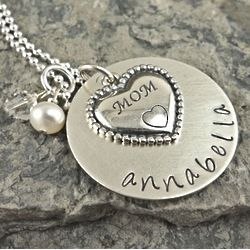 Mom's Heart Personalized Hand Stamped Necklace