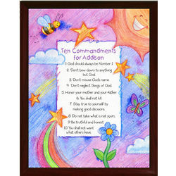 Personalized Children's 10 Commandments Framed Wall Plaque