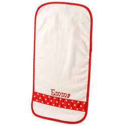 Personalized Baby Burp Cloth with Red and White Ribbon Accent