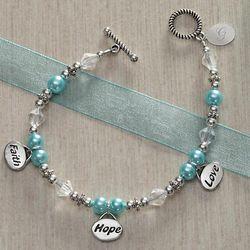 Personalized Faith, Hope, Love Charm Bracelet