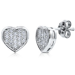 Sterling Silver Cubic Zirconia Micro Pave Heart Stud Earrings