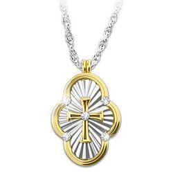 A Saint's Love of Faith Diamond Cross Pendant