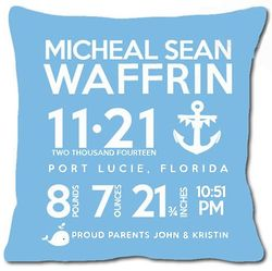 Personalized Birth Announcement Anchor Pillow in Blue