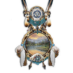 Thomas Kinkade Sculptural Dreamcatcher with Real Feathers