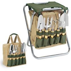 Gardener Folding Chair with Garden Tools