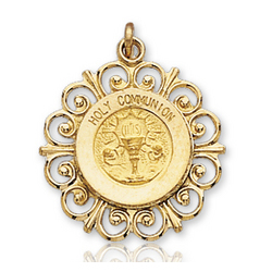 14k Yellow Gold Eucharist Carved Holy Communion Medal