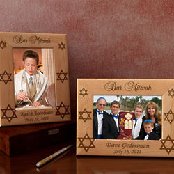 Personalized Bar or Bat Mitzvah Wooden Picture Frame