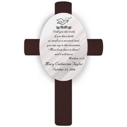 Personalized Matthew 17:20 Baptism Cross