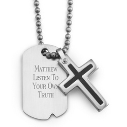 Boy's Stainless Steel Cross and Dog Tag Necklace