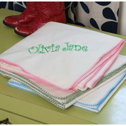 Sweet Stitches Personalized Organic Receiving Blanket