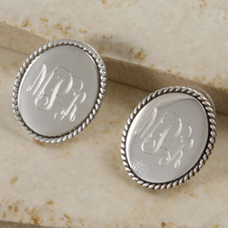 Monogrammed Sterling Silver Braided Oval Post Earrings.