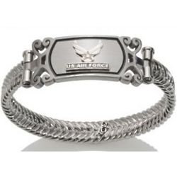 Women's Silver and Stainless Steel US Air Force Bracelet