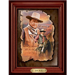 John Wayne 'Duke' Framed Print on Leather