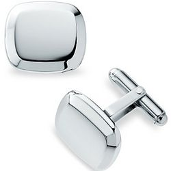 Beveled Cushion Sterling Silver Cuff Links