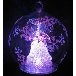 Color Changing LED Glass Globe Angel with Star Ornament