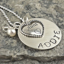 Aunt's Heart Personalized Hand Stamped Sterling Necklace