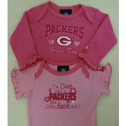 Packers Newborn and Infant Pink Bodysuits