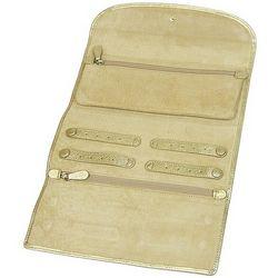 Metallic Goatskin Leather Jewelry Roll