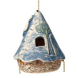 Blue Flower Whimsy Bird House