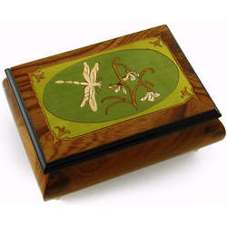 Tranquil 22 Note Olive Green Wood Dragonfly Music Box