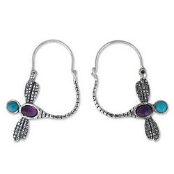 Dragonfly Amethyst and Turquoise Hoop Earrings
