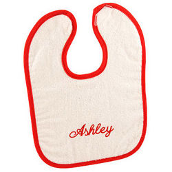 Personalized Red and White Terry Cloth Baby Bib