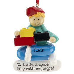 Personalized Lego Building Blocks Boy Christmas Ornament