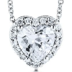 Sterling Silver Cubic Zirconia Solitaire Heart Pendant