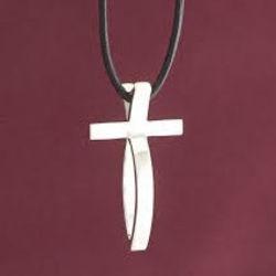Small Sterling Silver Fish Cross Pendant